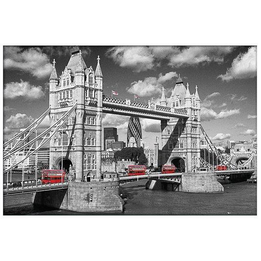 Gravura Poster para Quadros Tower Bridge com Ônibus Vermelhos em Destaque 90x60cm