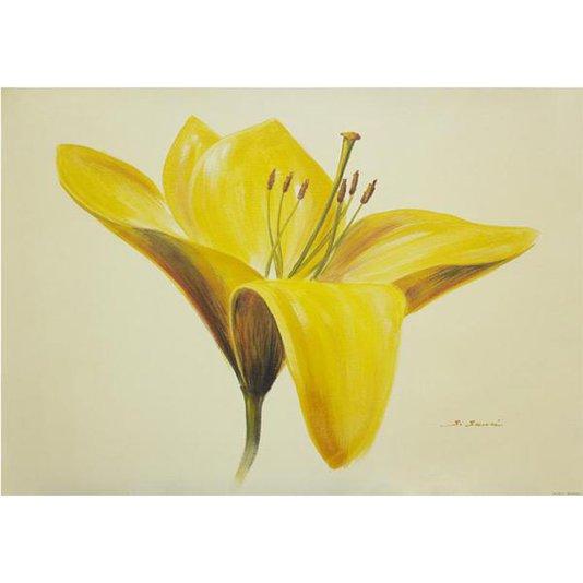 Gravura Texturizada para Quadros Floral Flor Amarela 70x50cm
