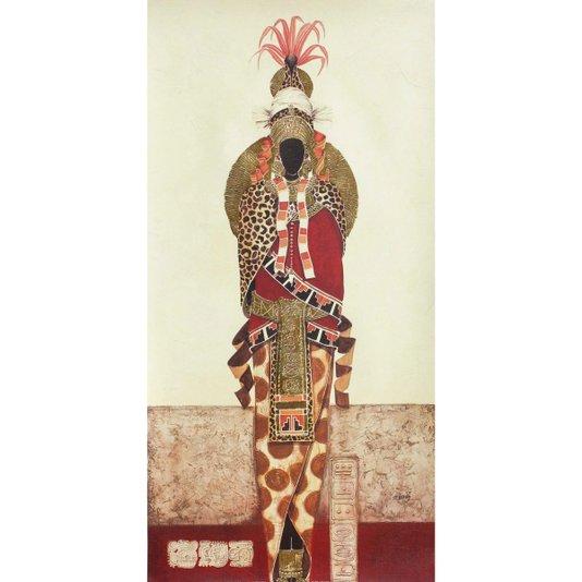 Gravura Texturizada para Quadros Indígena Senhora Lua 50x100cm