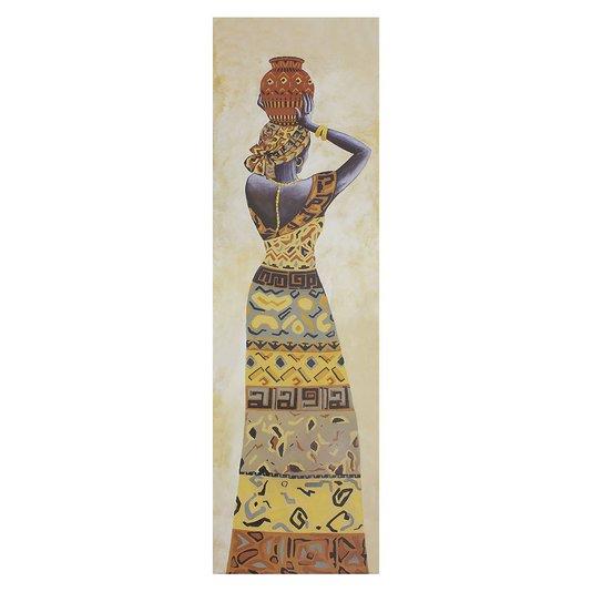 Gravuras para Quadros Mulher Africana com Vaso na Cabeça 30x100cm