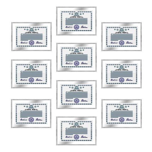 Kit 10 Molduras de Alumínio para Certificados e Diplomas 20x30cm