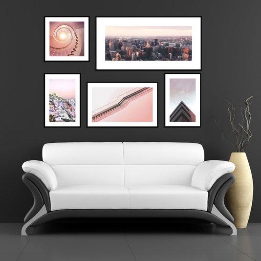 Kit com 5 Quadros Cidades Arquitetura Rosa Millennial 190x120 cm