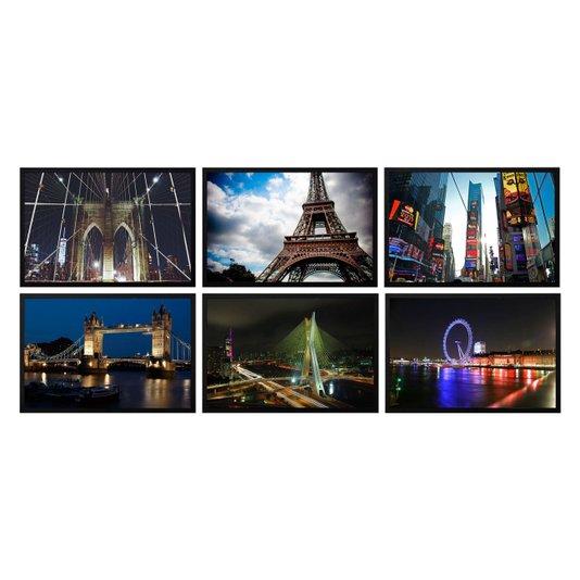 Kit com 6 Quadros Decorativos Cidades Londres Paris Nova York São Paulo 90x60cm