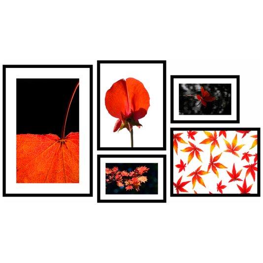 Kit de Quadros com Moldura Preta Tema Floral 130x70 Cm