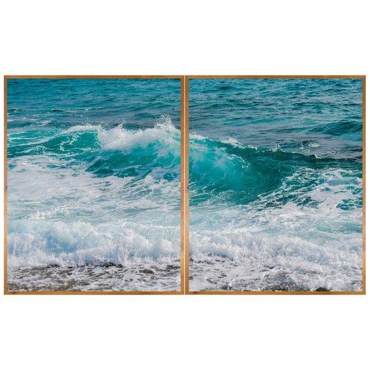 Kit de Quadros com Moldura Rústica Paisagem Mar Azul Kit com 2 Quadros de 100x130cm