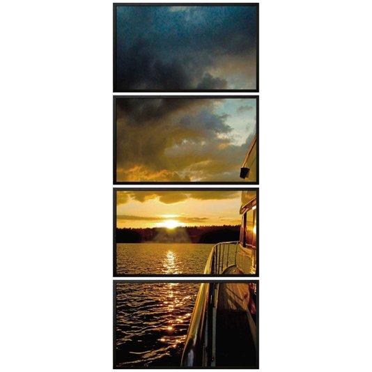 Kit de Quadros Decorativos com Moldura Preta Paisagem Pôr do Sol Kit com 4 Quadros de 100x60cm