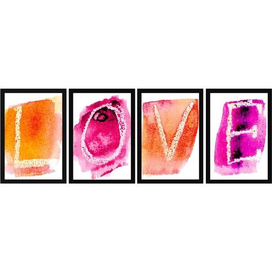 Kit de Quadros Decorativos Ilustração Love em Aquarela 90x30cm