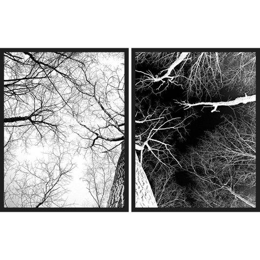 Kit Quadros em Preto e Branco Árvore Seca Positivo Negativo Kit com 2 Quadros de 55x70cm