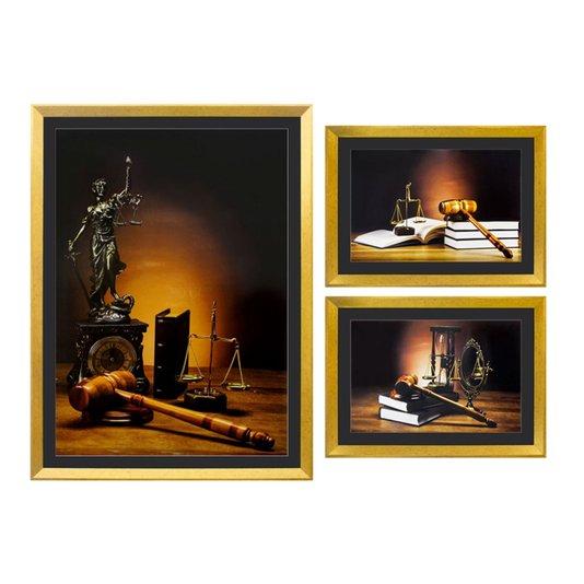 Kit de Quadros Justiça Deusa Têmis e Simbolos da Justiça Kit com 3 Quadros