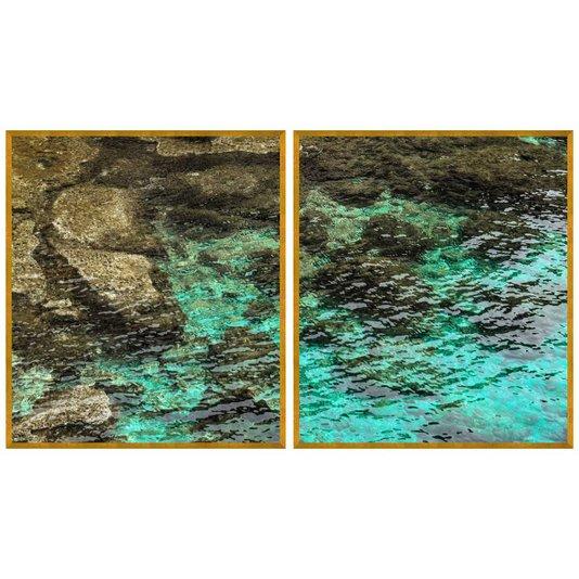 Kit de Quadros Paisagem Mar Água Cristalina Kit com 2 Quadros de 70x80 cm