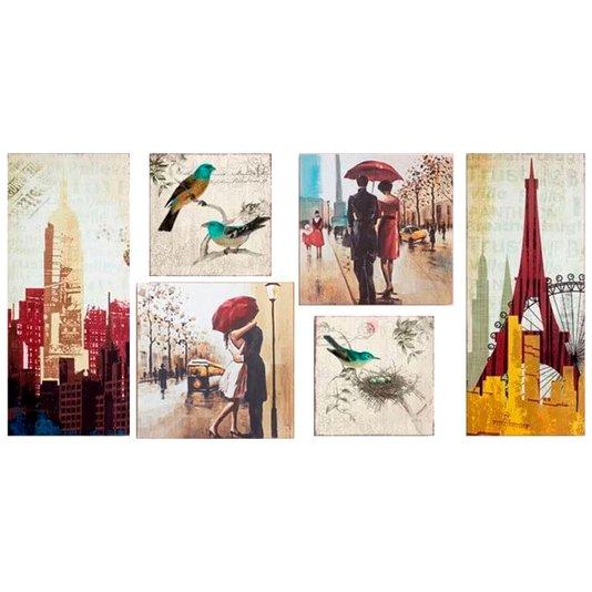 Kit de Quadros Telas Decorativas Cidades Abstratos e Pássaros Combo Kit com 6 Telas