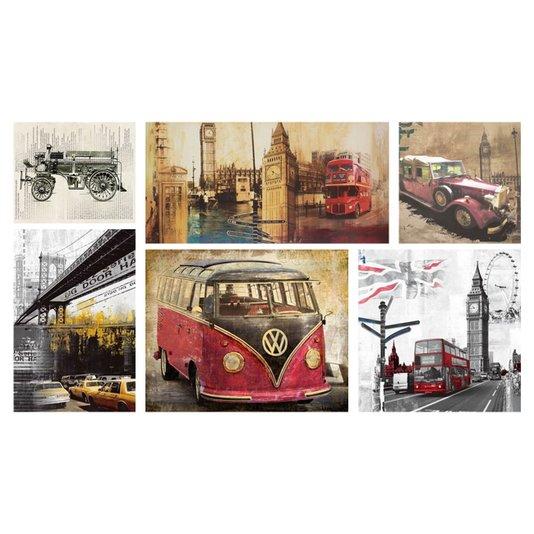 Kit de Quadros Telas Decorativas Cidades e Carros Combo Kit com 6 Telas