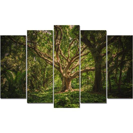 Kit de Quadros Telas Decorativas Floresta Hawaii Árvores Kit com 5 Telas