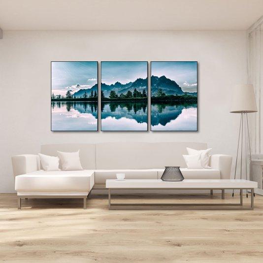 Kit Paisagem Montanhas Conjunto com 3 Quadros de 60x90cm