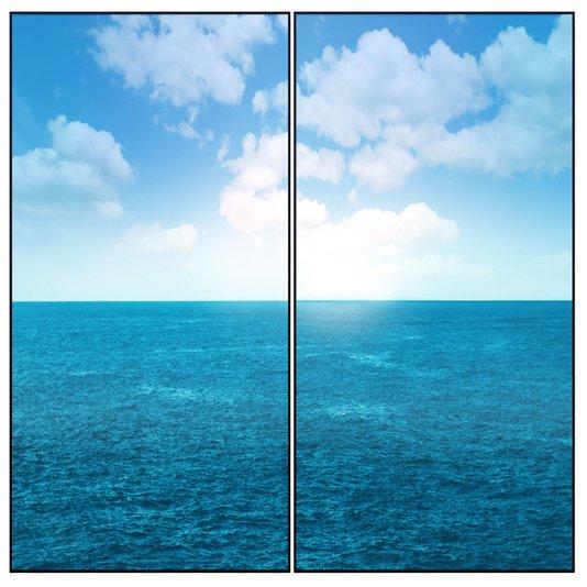 Kit Paisagem Oceano Conjunto com 2 Quadros de 80x160cm