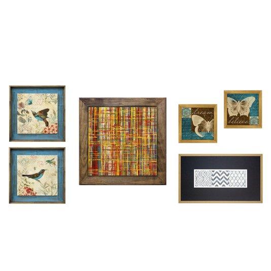 Kit Quadros Decorativos Abstratos Passarinhos e Borboletas Kit com 6 Quadros Decorativos