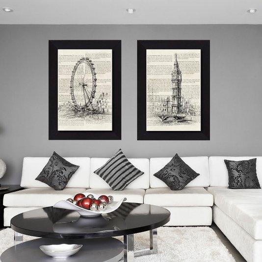 Par de Quadros Big Ben e London Eye Kit com 2 Quadros de 75x105cm