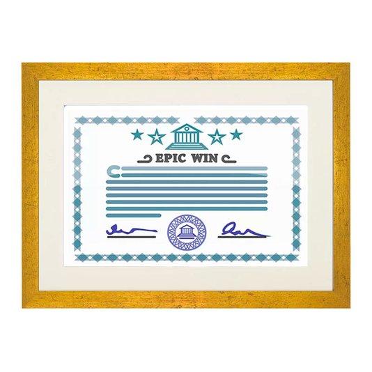 Moldura Dourada para Certificado e Diploma A4 21x30cm Quadro com Vidro