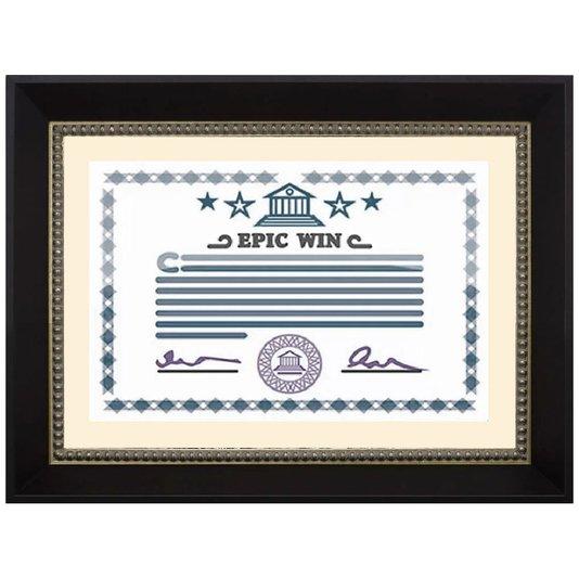 Moldura Preta e Prata para Certificado Diploma A4 21x30cm - Palha
