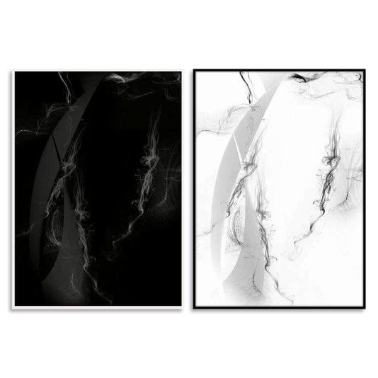 Par de Quadros Abstratos Arte Moderna em Preto e Branco 180x120cm