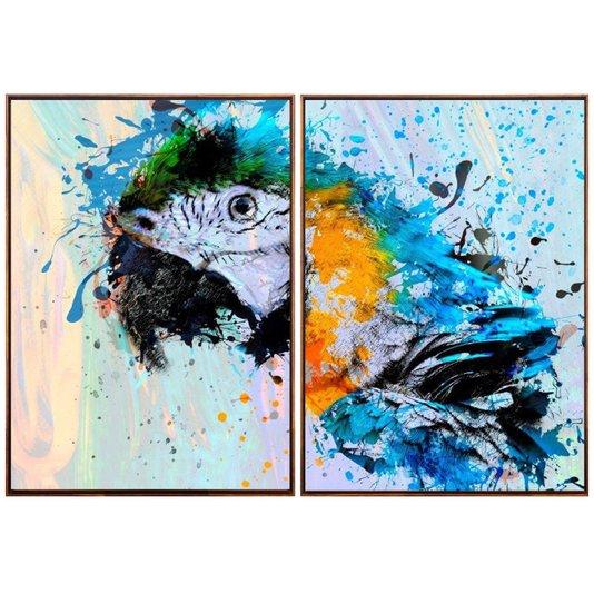 Par de Quadros Aquarela Arara Tela Canvas com Moldura 110x70cm