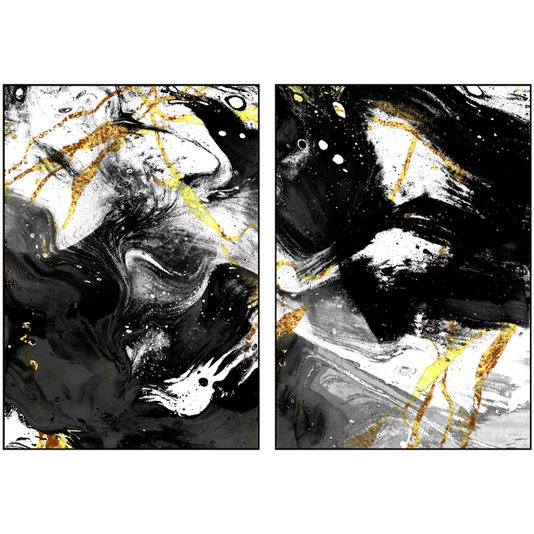 Par de Quadros Arte Abstrata em Preto e Dourado 140x100 cm