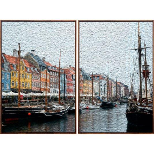 Par de Quadros Arte Pintura Porto de Copenhagen Barcos 140x100cm