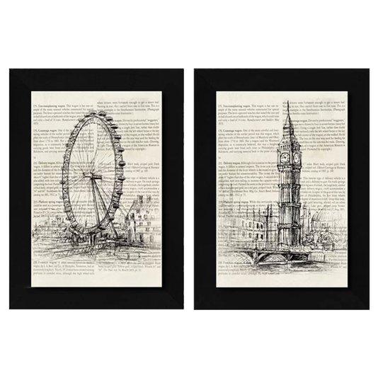 Par de Quadros Big Ben e London Eye 2 Quadros de 75x105cm