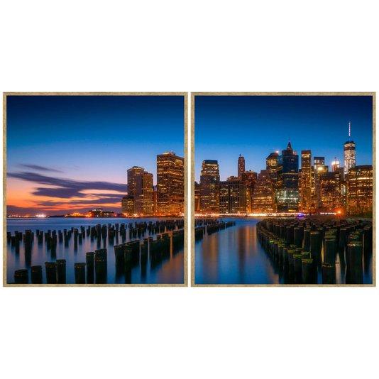Par de Quadros Decorativos New York Manhattan Kit com 2 Quadros de 95x100cm
