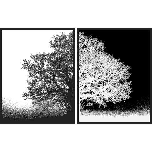 Par de Quadros em Preto e Branco Árvore Positivo Negativo Kit com 2 Quadros de 55x70cm