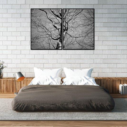 Par de Quadros em Preto e Branco Árvore Sem Folhas Kit com 2 Quadros de 80x100cm