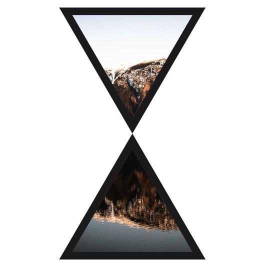 Par de Quadros Formato Ampulheta Triângulos Reflexão 43x75cm