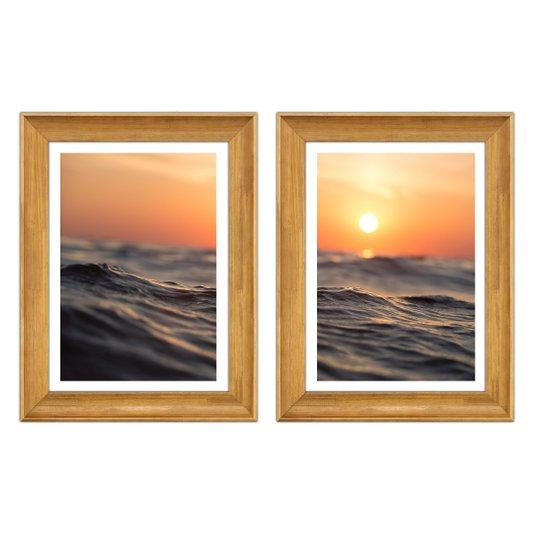 Par de Quadros Horizonte Paisagem Oceano Sol Praia 80x50cm