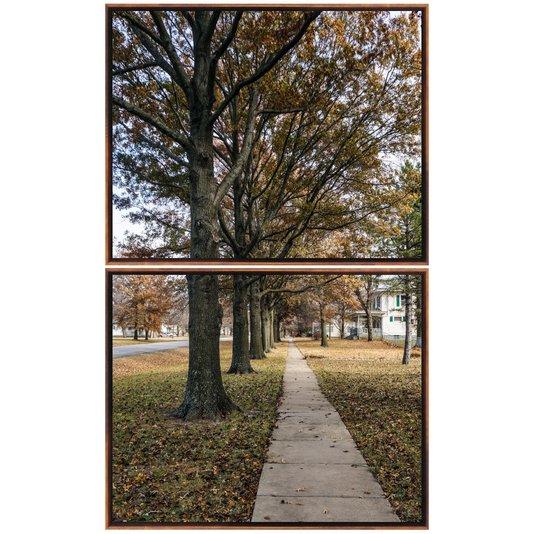 Par de Quadros Paisagem Árvores Tela Canvas com Moldura 100x160cm