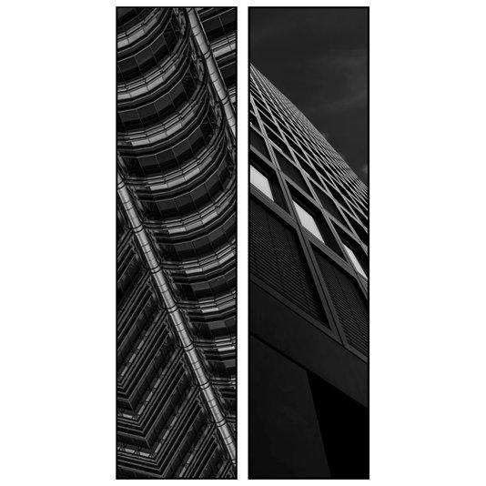 Par de Quadros Preto e Branco Arquitetura 60x120cm
