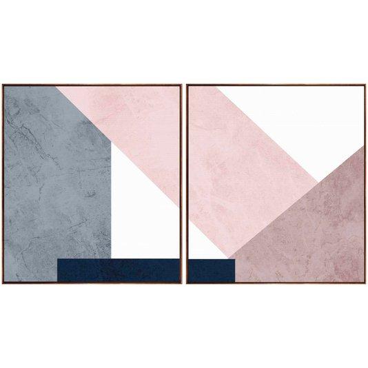 Par de Quadros Tela Canvas com Moldura Geométrico Rosê 190x100 cm