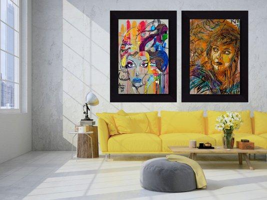 Par de Quadros Tela Decorativa Arte na Rua Grafite 120x170cm