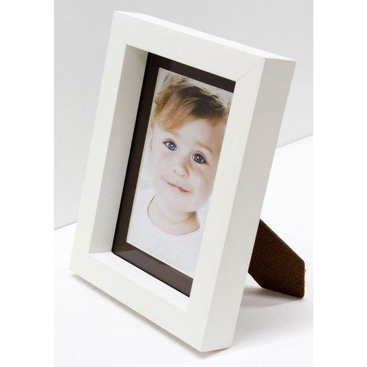 Porta Retrato Pequeno Branco e Marrom para Foto 10x15cm