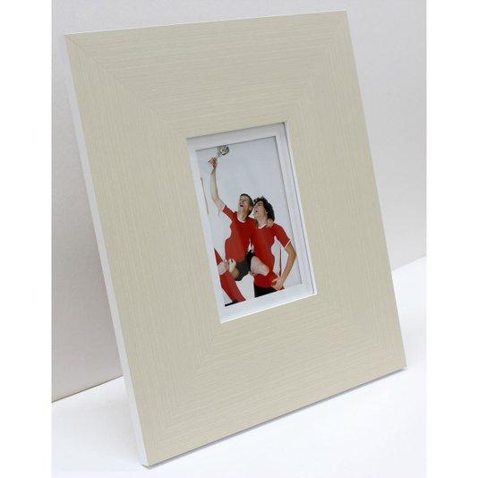 Porta Retrato Grande Moldura Cor Creme e Branca para Foto 10x15cm
