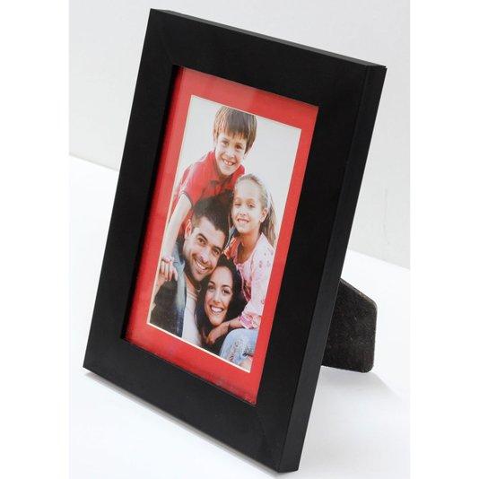Porta Retrato Moldura Preta e Passepartout Vermelho Foto 10x15cm