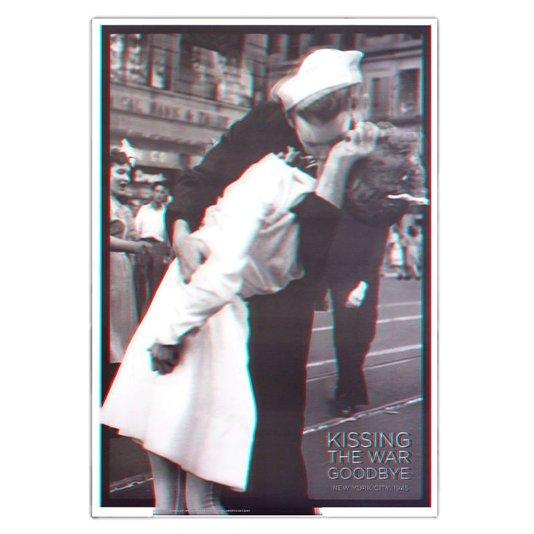 Poster 3d Beijo No Fim da Segunda Guerra Mundial 50x70cm Com/sem Moldura