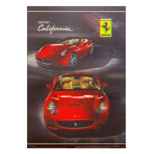 Poster 3d Ferrari California Vermelha 50x70cm Com/sem Moldura