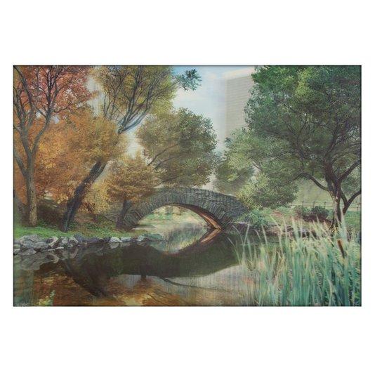 Poster 3D Floresta Ponte Sobre Lago 70x50cm com/sem Moldura