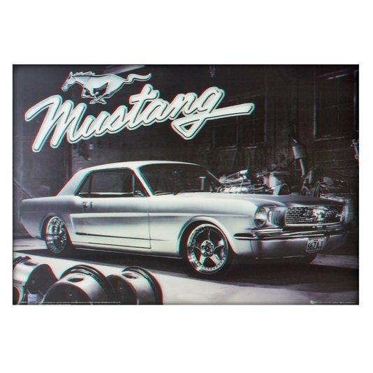 Poster 3D Ford Mustang Prata 1966 70x50cm com/sem Moldura
