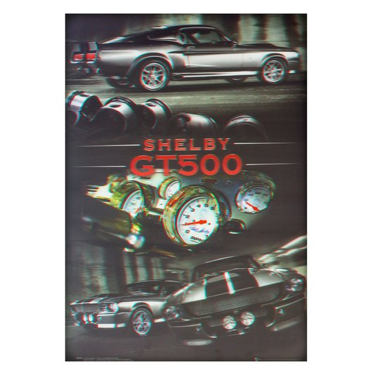 Poster 3D Ford Mustang Shelby GT500 Prata 50x70cm com/sem Moldura