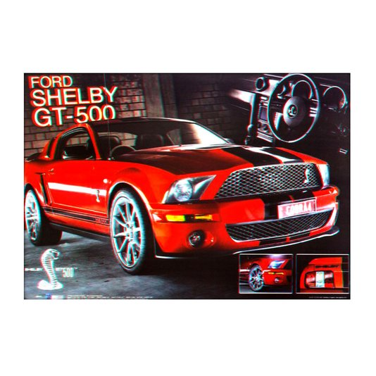 Poster 3D Ford Mustang Shelby GT500 Vermelho 70x50cm com/sem Moldura