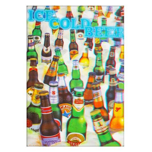 Poster 3D Ice Cold Beer Cerveja Gelada 50x70cm com/sem Moldura