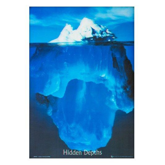 Poster 3D Iceberg Profundezas Ocultas 50x70cm com/sem Moldura