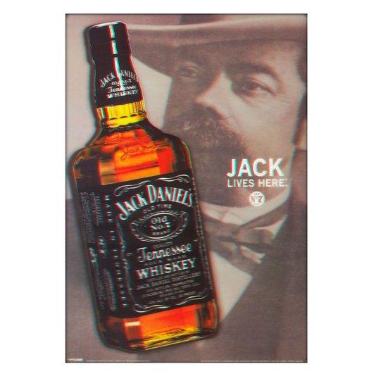 Poster 3D Jack Daniels Lives Here 50x70cm com/sem Moldura