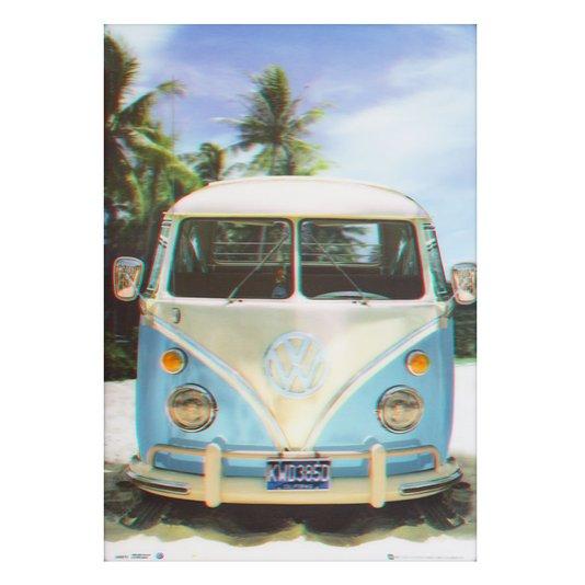 Poster 3D Kombi Antiga Azul e Branca na Praia Califórnia 50x70cm com/sem Moldura